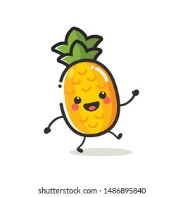 Pineapple Character Mascot. Fruits & Vegetables Cute Simple icon logo Design Vector
