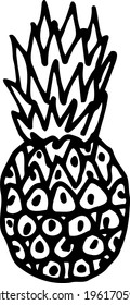 Pineapple close-up. Hand-drawn black and white vector illustration isolated on a white background.