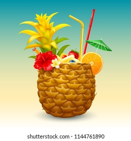 Pineapple cocktail in the half part of pineapple, garnished with tropical flowers, orange slice, straw tubes and small green umbrella. Vector illustration.