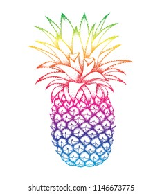 Pineapple colorful sketch isolated on white background. Trendy botanical vector illustration for wallpaper, textile, fashion banners, cards, posters.