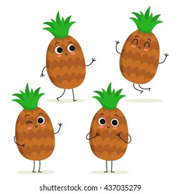 Pineapple. Cute fruit vector character set isolated on white