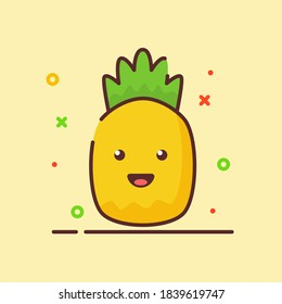 Pineapple cute mascot face emotion happy fruit with color flat cartoon outline style