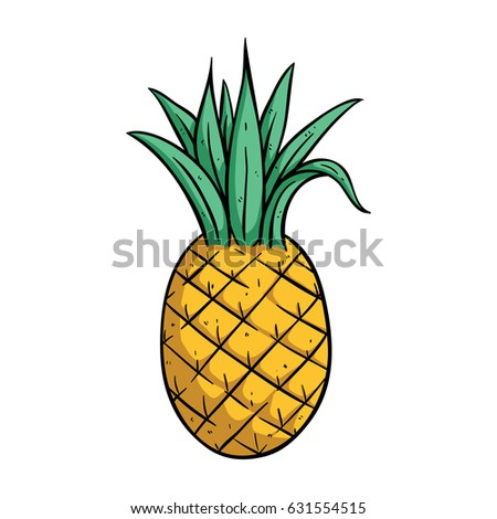Pineapple Drawing Using Doodle Art Color Stock Vector Royalty Free