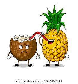 Pineapple drinks juice from coconut pop art retro vector illustration. Cartoon food character. Isolated image on white background. Comic book style imitation.