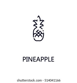 Pineapple flat icon. Single high quality outline symbol of fruit for web design or mobile app. Thin line signs of pineapple for design logo, visit card, etc. Outline pictogram of pineapple.