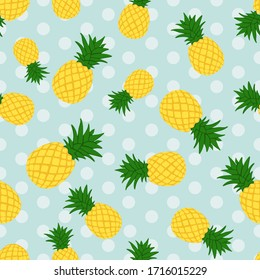 pineapple flat illustration with sky blue polka dots background seamless pattern