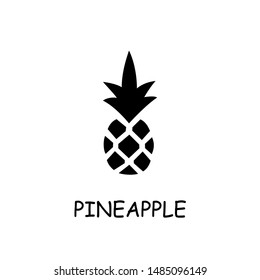 Pineapple flat vector icon. Hand drawn style design illustrations.