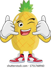 Pineapple Fruit Cartoon Character Design Graphic suitable for your design needs: logos, illustrations, animations, t-shirt designs, etc