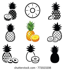 Pineapple fruit icon collection - vector outline and silhouette