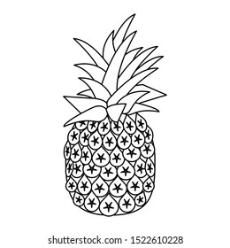 pineapple fruit icon over white background, vector illustration