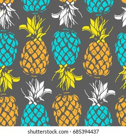 Pineapple fruit in seamless pattern on isolated background in Vector