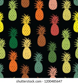 Pineapple fruits seamless pattern background format. for print.