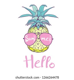 pineapple with glasses design, exotic