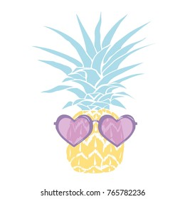 pineapple with glasses tropical, illustration, design, vector