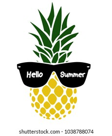 pineapple with glasses - vector, illustration