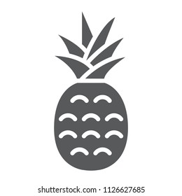 Pineapple glyph icon, fruit and ananas, tropical sign, vector graphics, a solid pattern on a white background, eps 10.