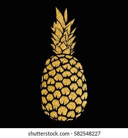 pineapple gold illustration isolated on white background. Design elements for logo, label, emblem, sign, menu. Vector illustration.