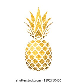 Pineapple golden with leaf. Tropical gold exotic fruit isolated white background. Symbol of organic food, summer, vitamin, healthy. Nature logo. Design element silhouette icon Vector illustration