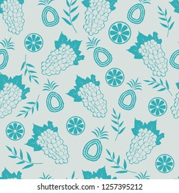 Pineapple and grapes seamless background pattern