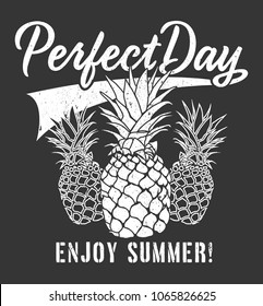 pineapple graphic with typography.vector illustration.summer graphic.script typography.apparel print