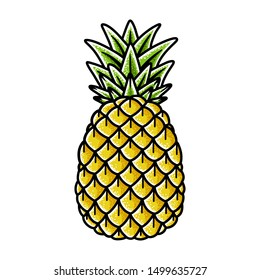 Pineapple hand drawing old school tattoo. Vector illustration on white background.