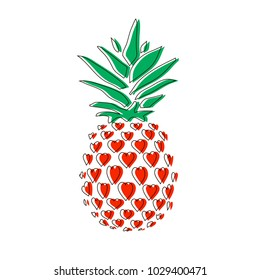 Pineapple in hearts. Line icon pineapple with leaves. Vector illustration. Fruit. Hand drawn vector sketch on beige