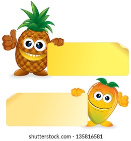 Pineapple and Honey Mango. Funny Fruits with Blank Sign. Vector Cartoon Illustration