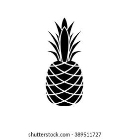 Pineapple icon. Black and white tropical fruit.