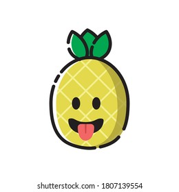 pineapple icon cute vector illustration sticking tongue out