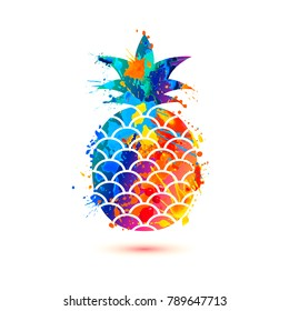 Pineapple icon on white background. Vector watercolor splash paint fruit symbol