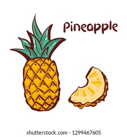 Pineapple icon. Tropical fruit, isolated on white background. Symbol of fresh food, sweet, exotic,summer, vitamin, healthy. Nature logo. hand drawing Design element Vector illustration. logo.