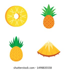 Pineapple icons set. Flat set of pineapple vector icons for web design