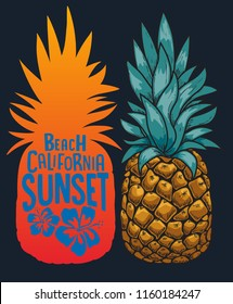 pineapple illustration vector design with typography and hibiscus for t shirt