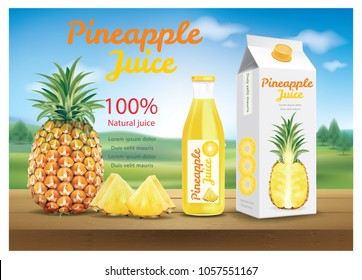 Pineapple juice ads.illustration vector