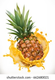 Pineapple juice. Fresh fruit, 3d vector icon