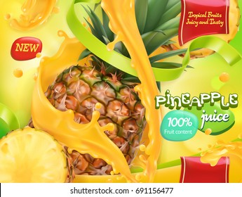 Pineapple juice. Sweet tropical fruits. 3d realistic vector, package design