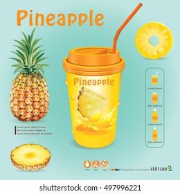 Pineapple juice .vector illustration