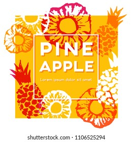 Pineapple label. Vector decorative illustration with ink hand painted elements.