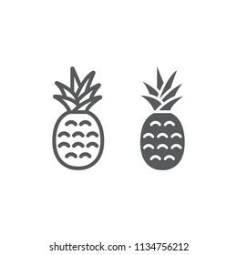 Pineapple line and glyph icon, fruit and ananas, tropical sign, vector graphics, a linear pattern on a white background, eps 10.