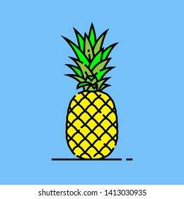 Pineapple line icon. Fresh summer fruit symbol. Tropical yellow pineapple isolated on blue background. Vector illustration.