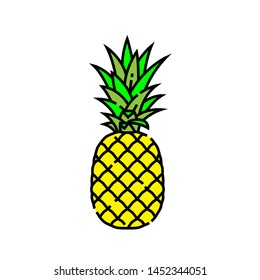 Pineapple line icon. Fresh tropical summer fruit symbol. Vector illustration.