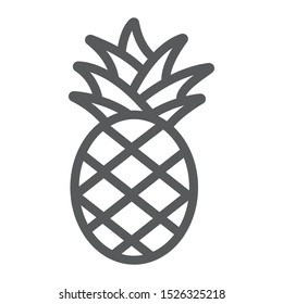 Pineapple line icon, fruit and food, tropical fruit sign, vector graphics, a linear pattern on a white background, eps 10.