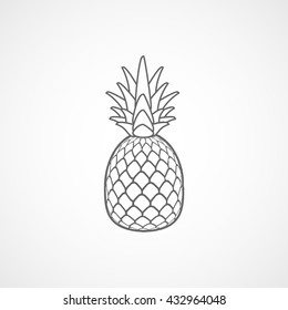 Pineapple Line Icon On White Background