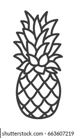 Pineapple line Icon. Trendy Tropical Element. Vector Graphics. Isolated.