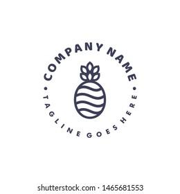 Pineapple Logo Design. Icon Character
