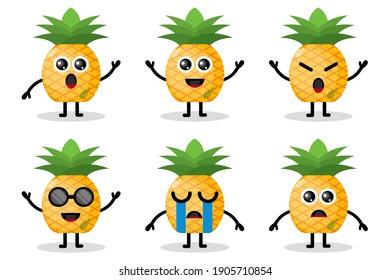 pineapple mascot fruit flat design character