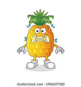 pineapple monster vector. cartoon character