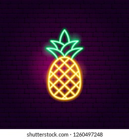 Pineapple Neon Sign. Vector Illustration of Fashion Promotion.