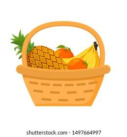 Pineapple, orange, banana fruit basket. Flat vector illustration. Harvesting tropical fruits citrus.Picnic concept icons.