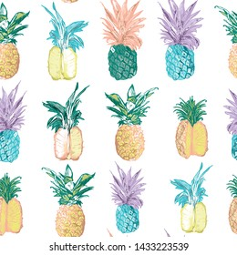 pineapple patterns with different colors